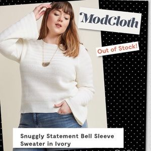 ModCloth 100% Cotton Ivory Bell Sleeve Sweater 3X